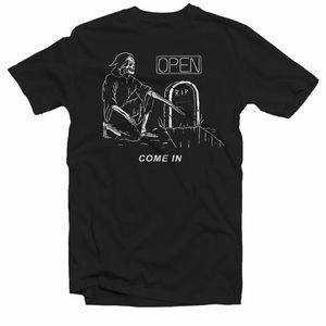 Grim Reaper Open Come In Gravestone Graphic Tee